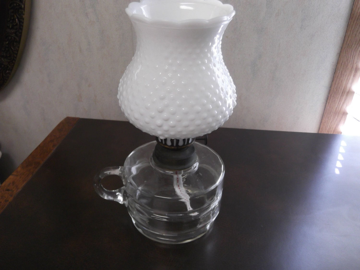 SALE Antique Glass Finger Oil Lamp With White By