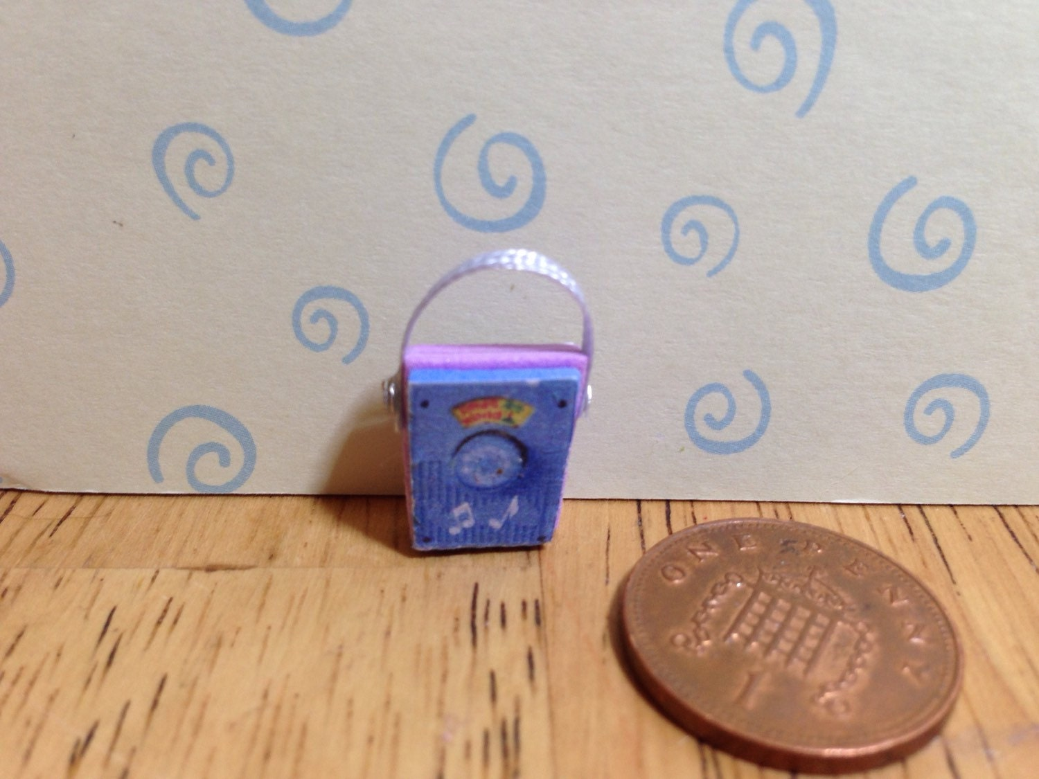 Hand made Dolls house Miniature replica vintage fisher price radio 112 scale