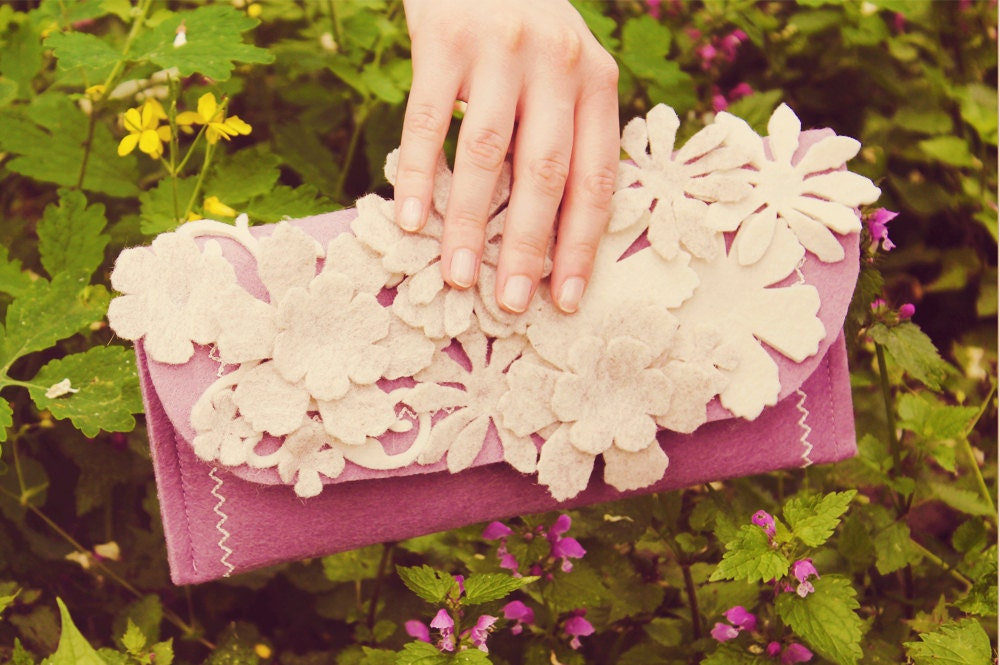 Felt Clutch Purse extra covered with felt flower // Liliac and white version