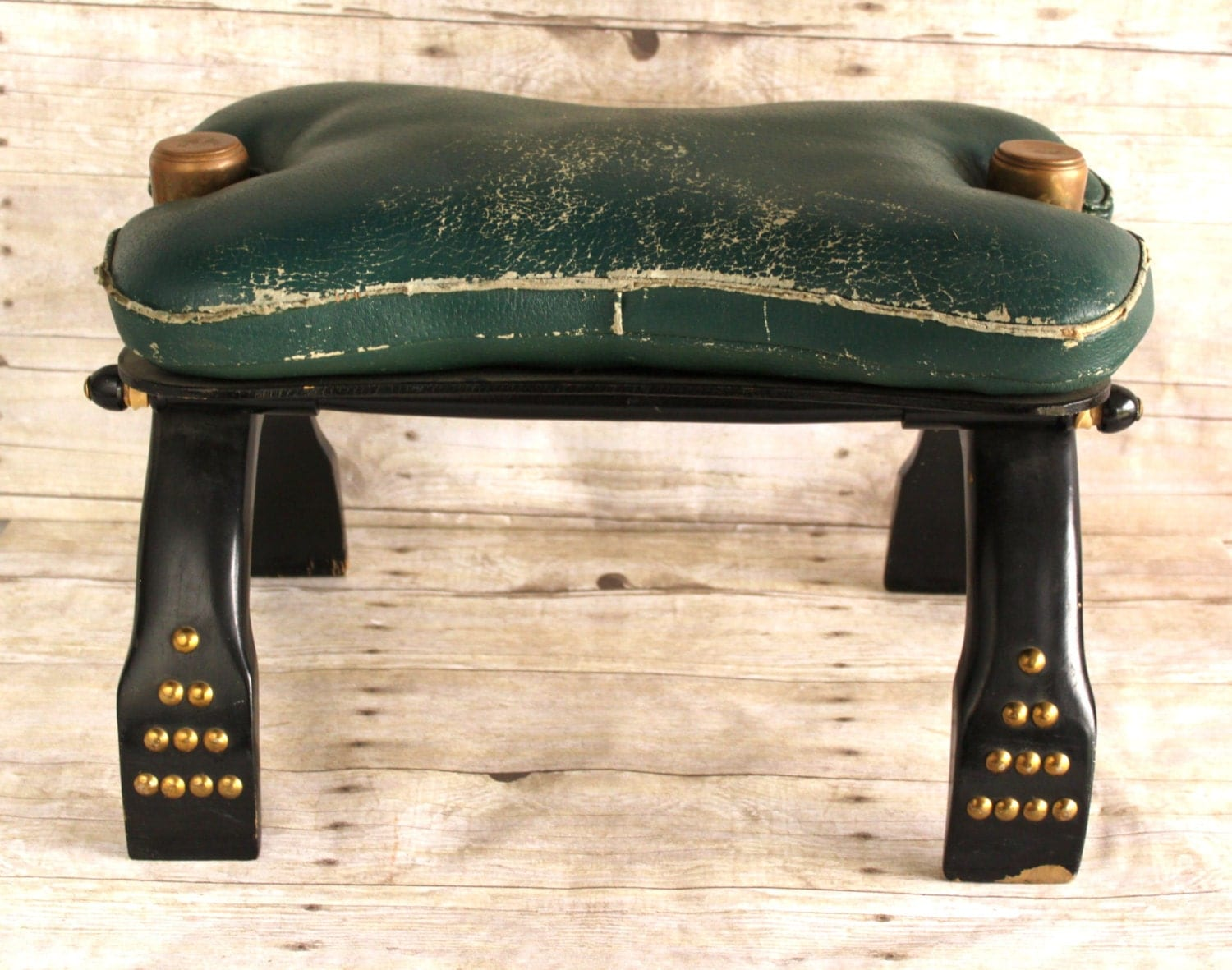 Vintage Camel Saddle Foot Stool Leather By