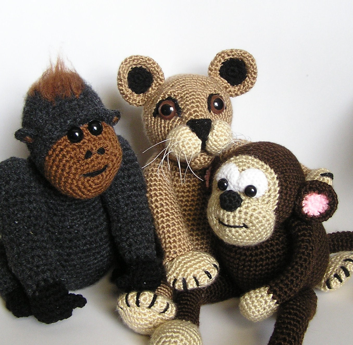 Crochet Patterns Jungle Animals : PDF crochet pattern JUNGLE BUDDIES by bvoe668 on Etsy