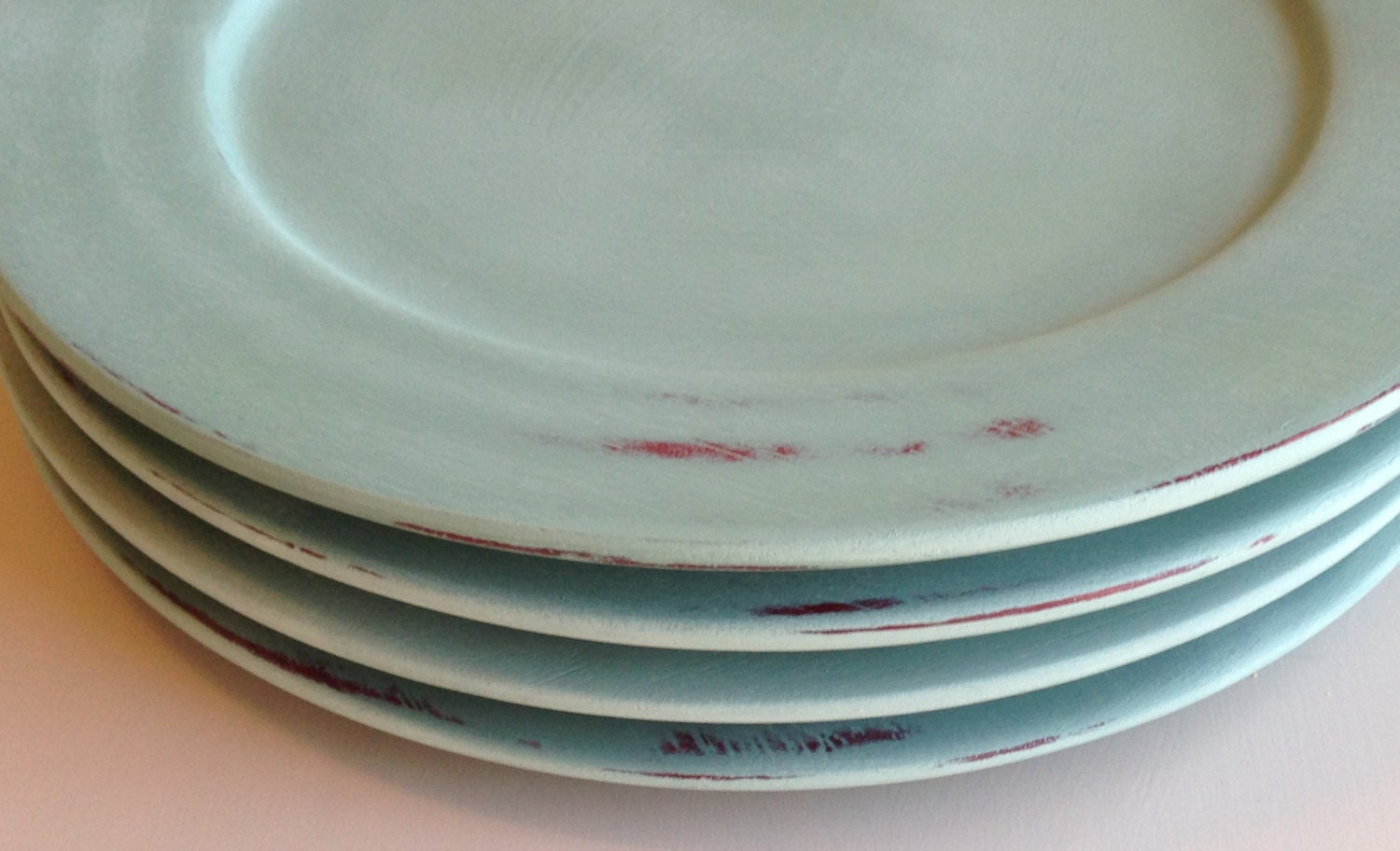 Distressed Wood Plate Chargers in Annie Sloan Duck Egg Blue  - Set of 6 - SerendipitousDecor