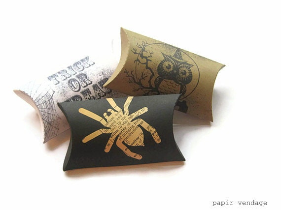 12 Halloween favor boxes, Halloween pillow boxes, party favor boxes, Halloween decorations, owls, spiders, happy Halloween - papirvendage
