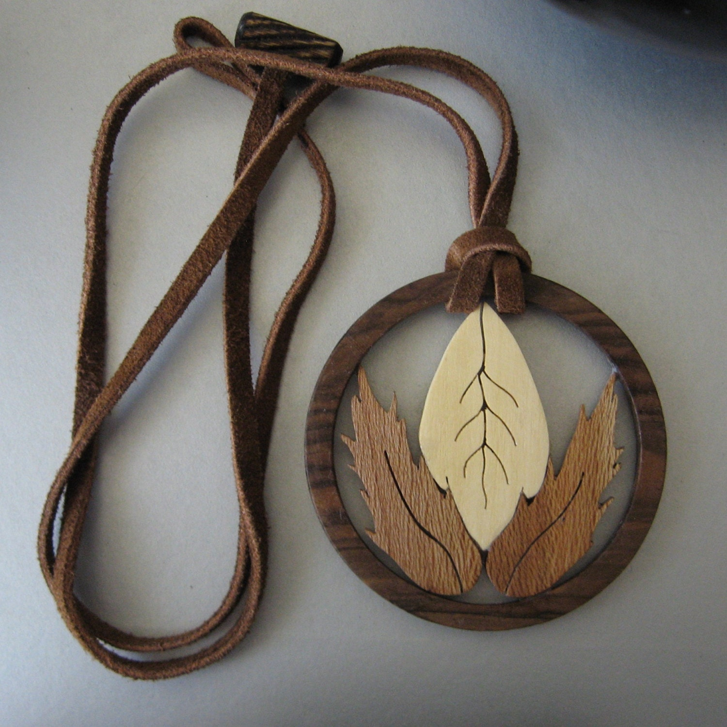 wooden ring jewelry pendant wooden leaves in a ring by