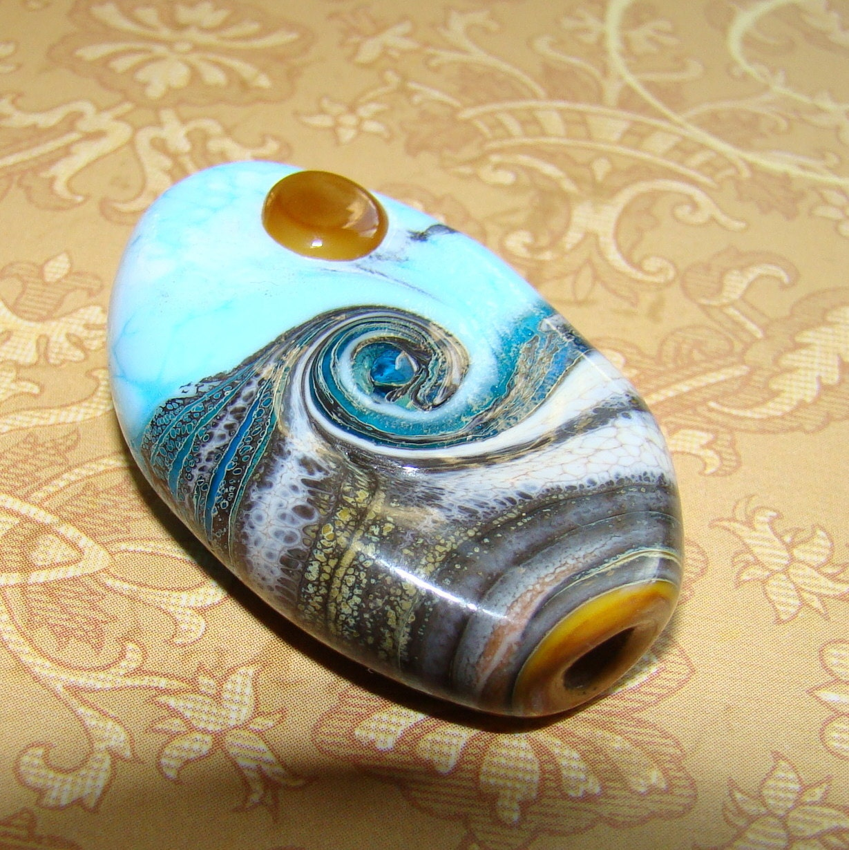 Wave. Lampwork glass focal sea bead. UK SRA