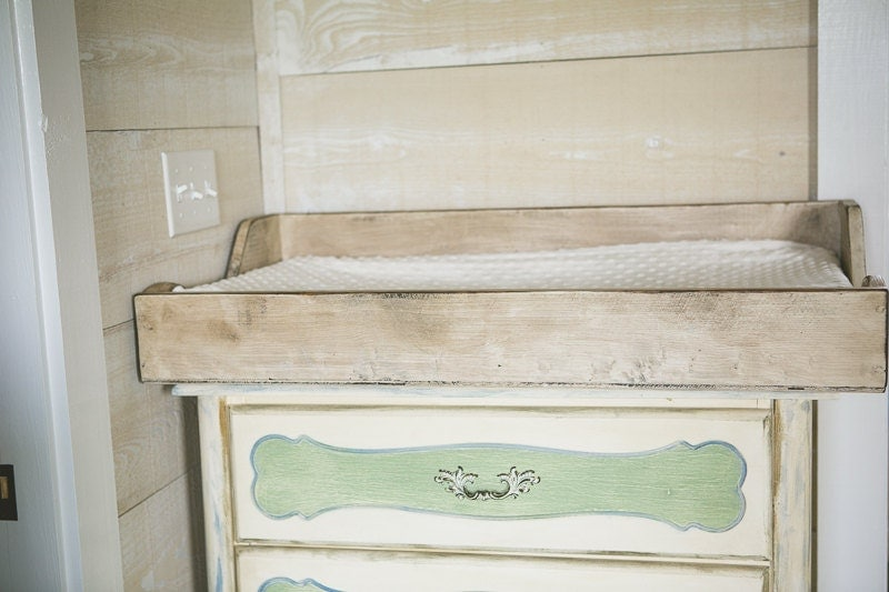 items similar to distressed white baby changing table topper on etsy. Black Bedroom Furniture Sets. Home Design Ideas