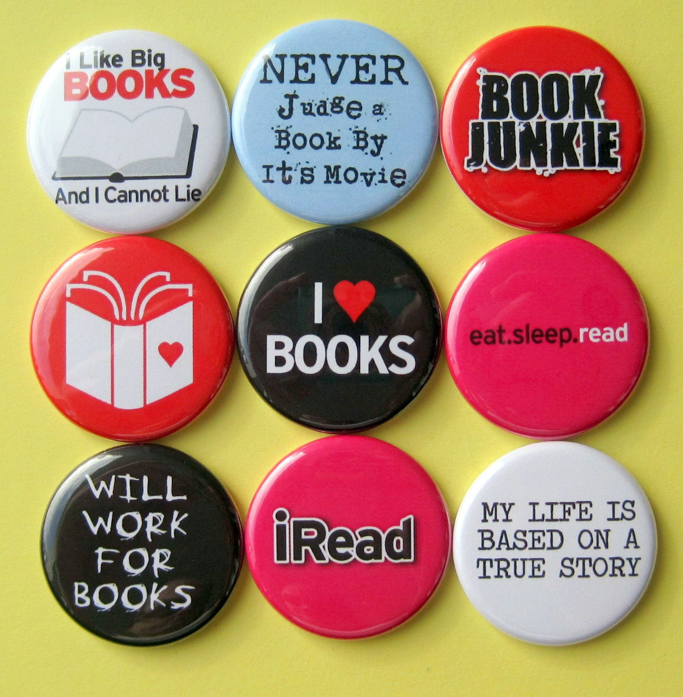 Book Lover Magnets - Set of Nine 1.25 Inch Button Magnets in a Tin