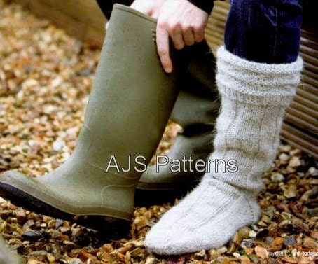 Boot Socks Knitting Pattern : PDF Knitting Pattern for Mens Aran Wellington by TheKnittingSheep