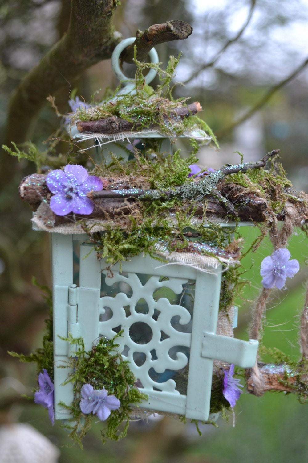 Fairy summer house fairie woodland tiny hideout with swing.
