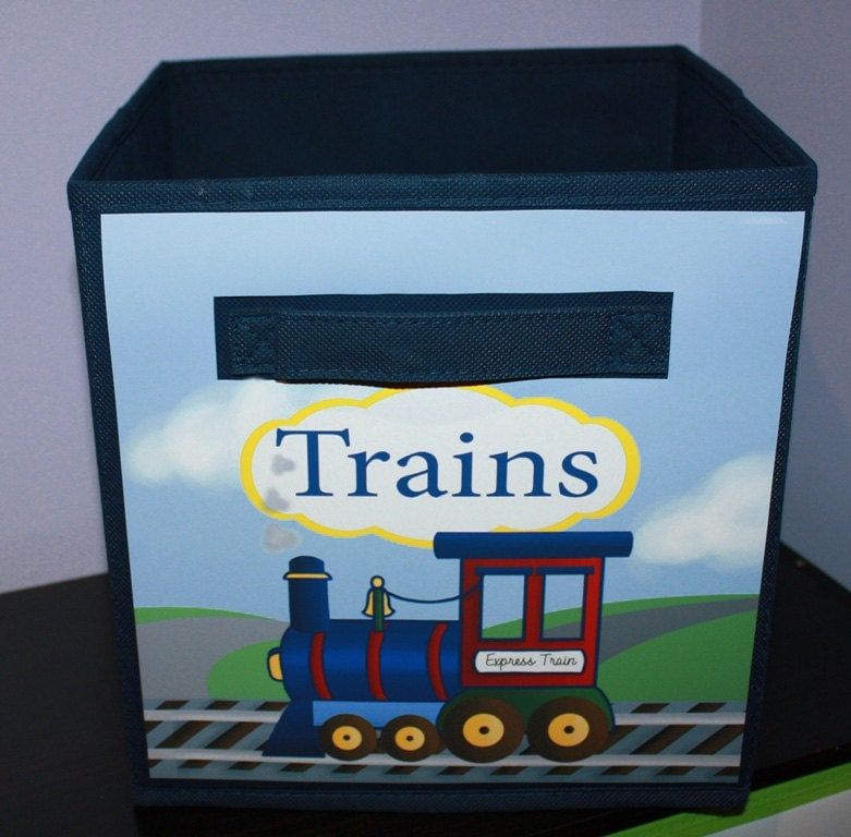 Express Train Fabric Bin Boy's Personalized Bedroom By