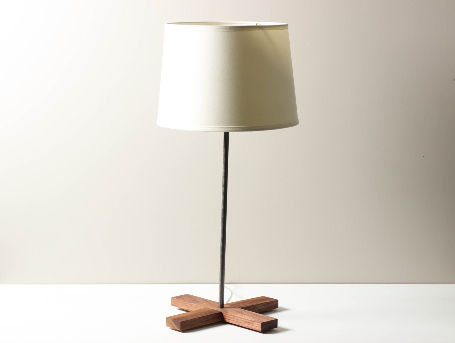 X Base Lamp- Walnut Base, Skinny Modern Table Lamp, Table Lamp, Modern Lighting, Living Room Lamp - WorleysLighting