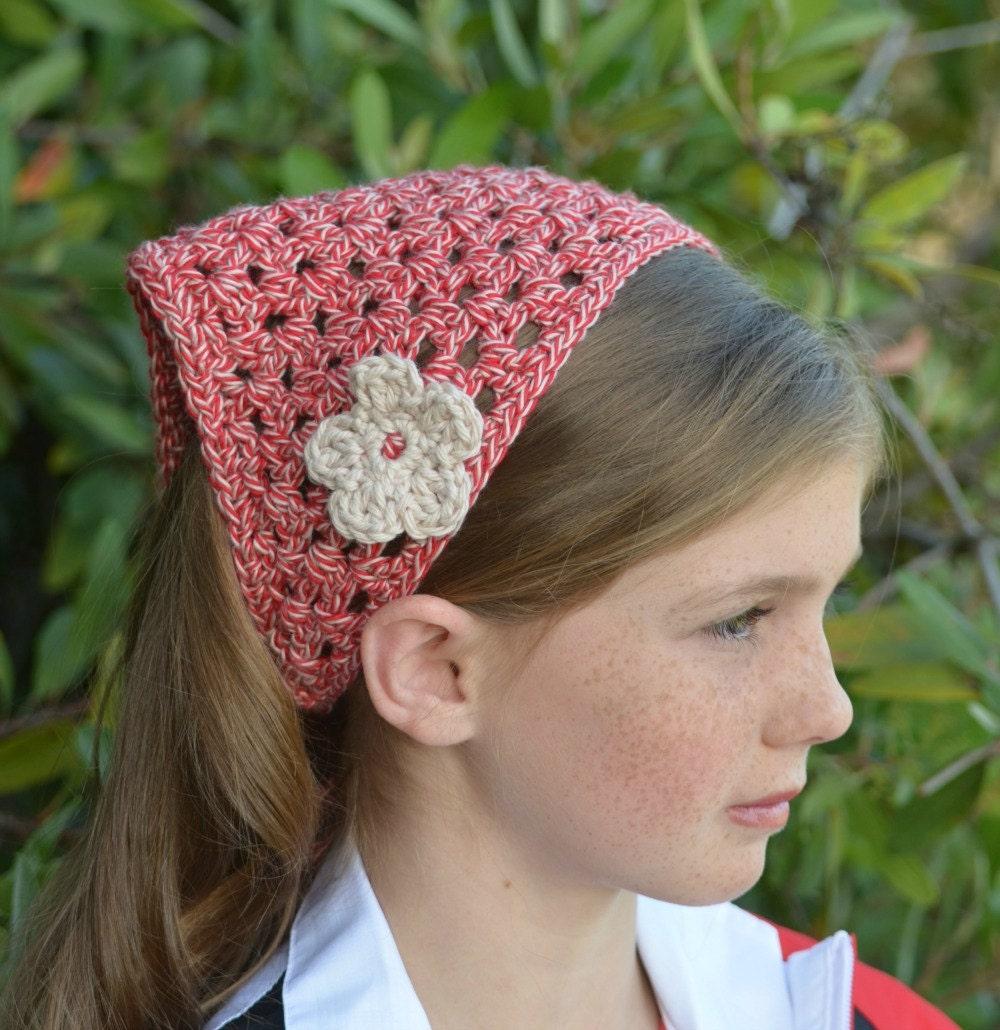 Kerchief Head Kerchief Head Scarf Red and Tan Crochet Headband Hair ...