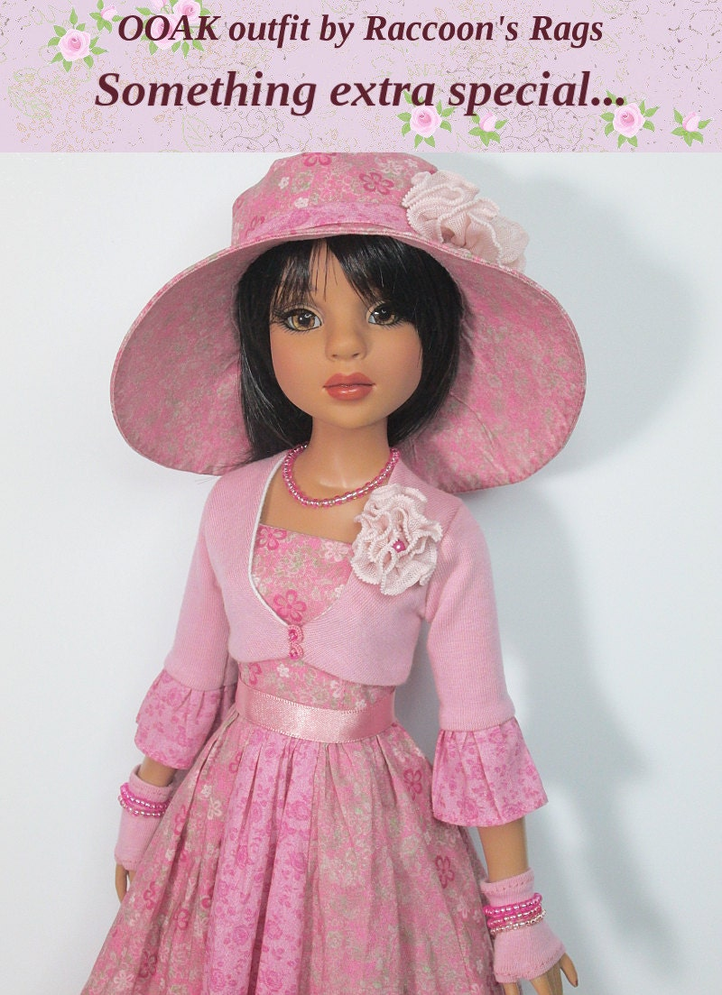 OOAK Ellowyne Wilde set RASPBERRY SMOOTHIE outfit. For Ellowyne  friends.  Bolero dress hat and more.  Includes boots.