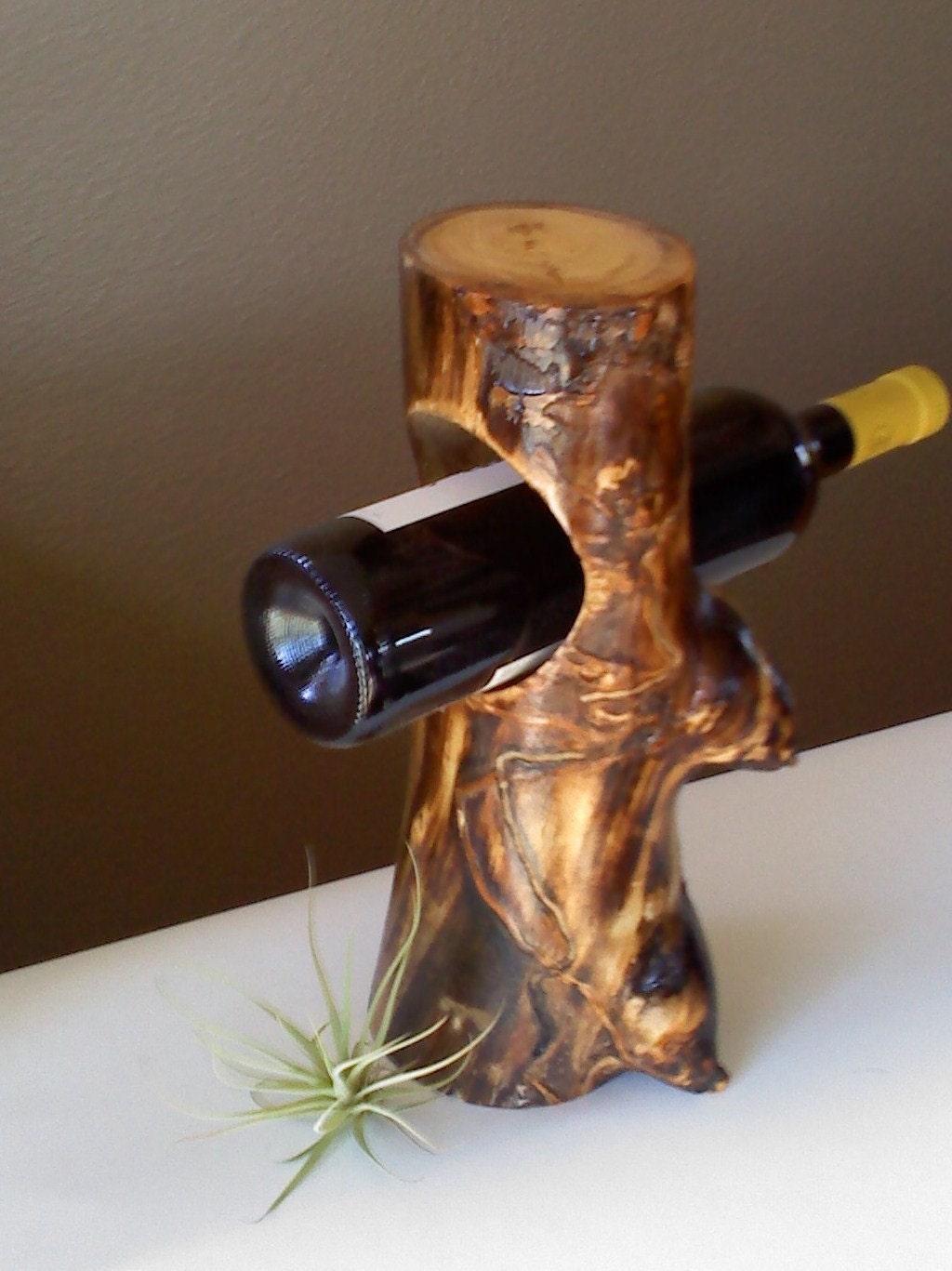 single wooden wine bottle holder by aspenbottleholders on etsy