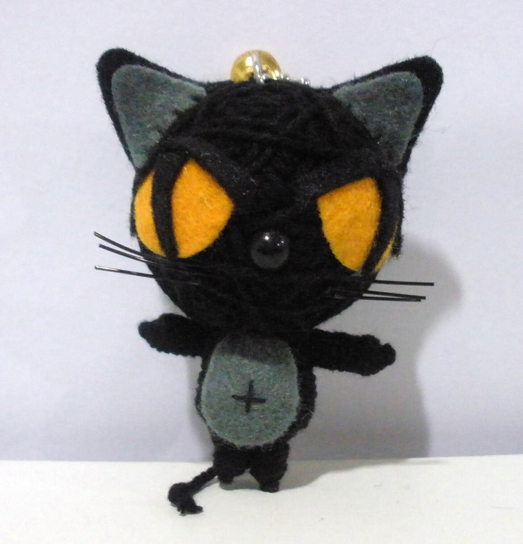 Black Cat String doll Voodoo doll keychain by narakdoll on ...