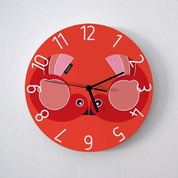 Horloge Murale Ronde Gros Love Birds Chaude Rouge Par Izzybizzyme