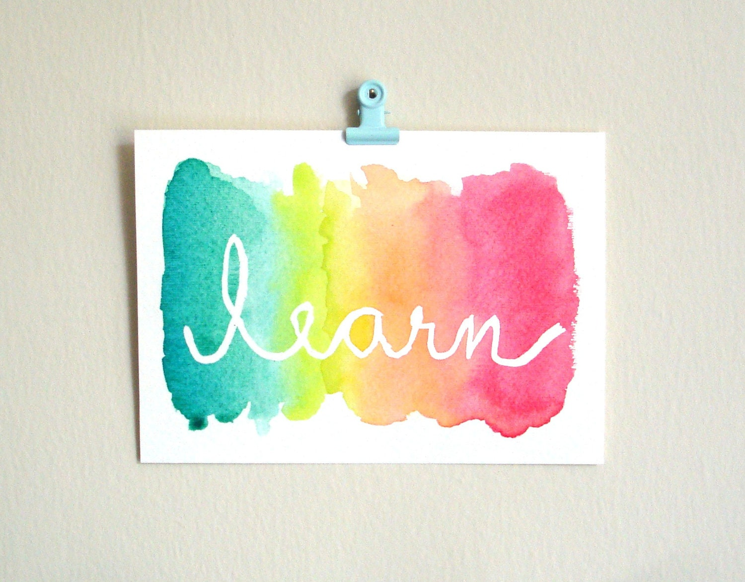 Learn watercolor painting neon wall art dorm by for Teaching kids to paint on canvas