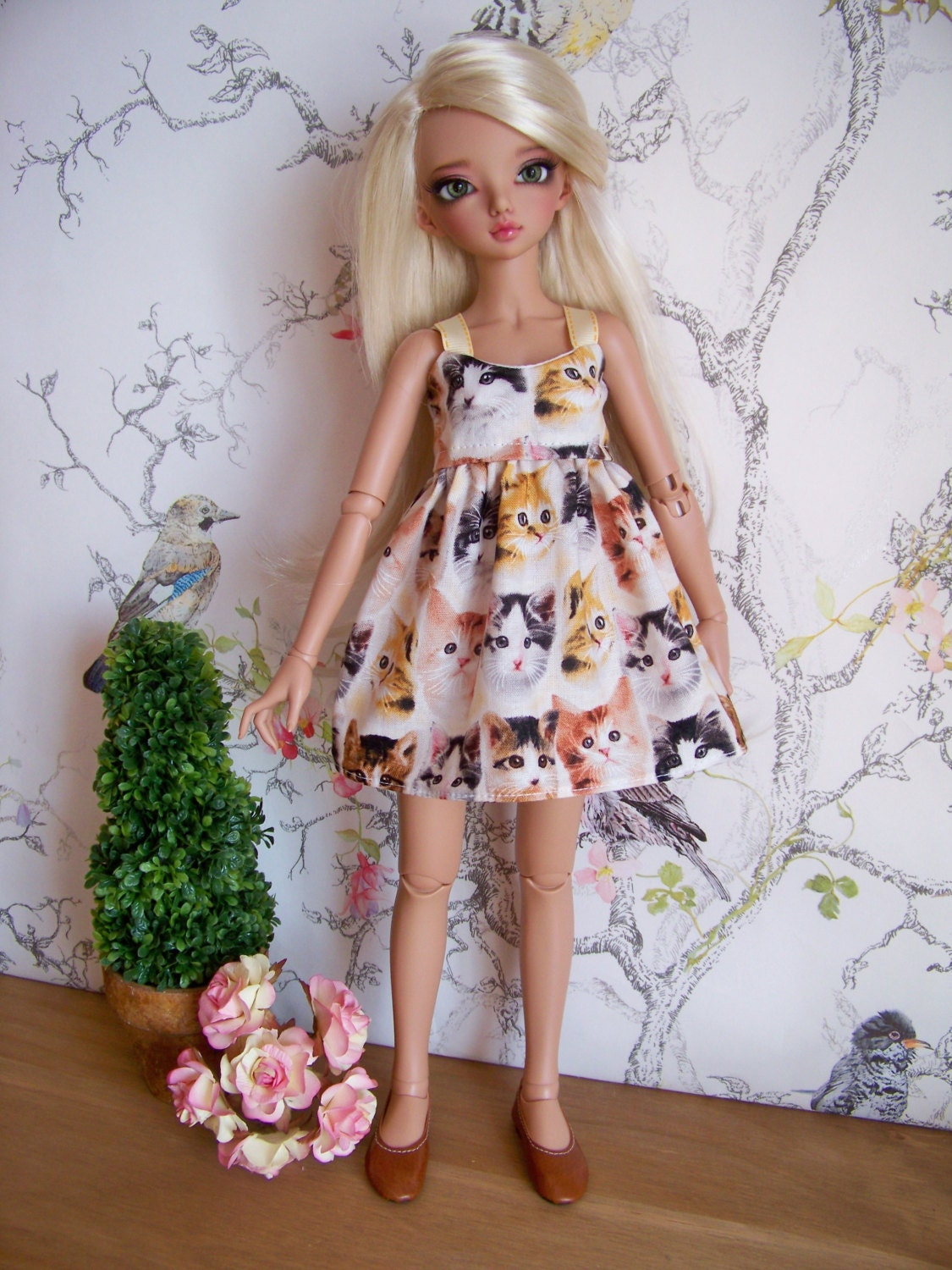 Cats Kittens Print dress for Minifee Msd BJD Ellowyne Evangeline Tonner Cami   dolls