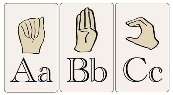Declarative image in printable sign language flash cards