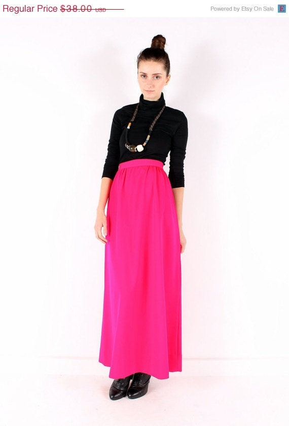 vintage 70s midi maxi skirt bright pink pleated by shopcollect