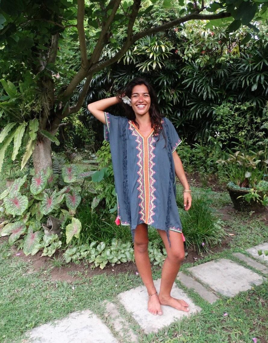Kaftan Beach Dress Tassel Kaftan Beach Cover Up Boho Tunic Bohemian Festival Fashion Embroidery Tassels