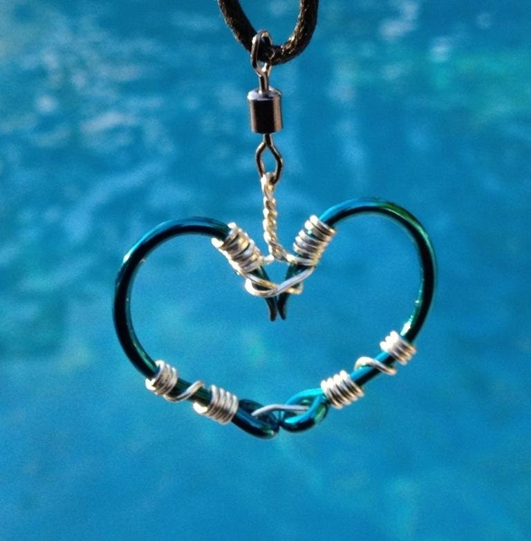 fish hook heart necklace silver on teal hooks by