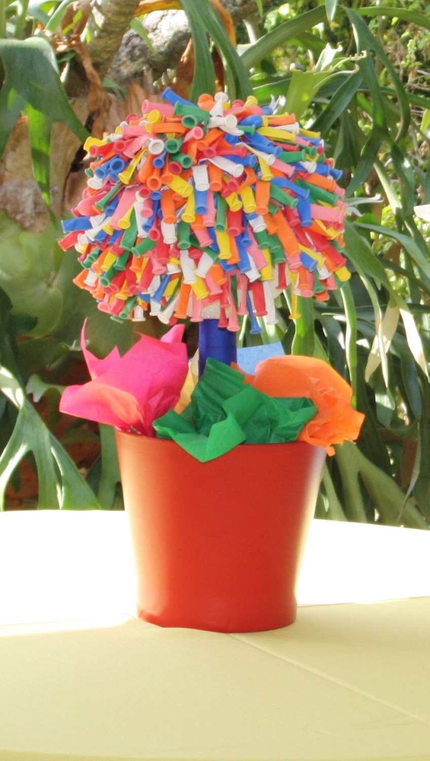 Balloon topiary colorful centerpiece by krispercreations