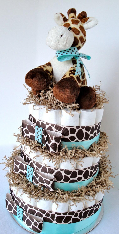 Giraffe Diaper Cake Giraffe Theme Tiffany by DomesticDivaDesignz