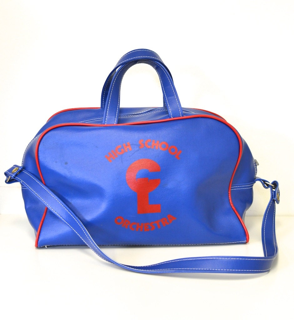 "Vintage Big ""High School Orchestra""  Travel Carry On Flight Bag  - Blue and Red - Vegan VInyl - REBOOTVINTAGE"