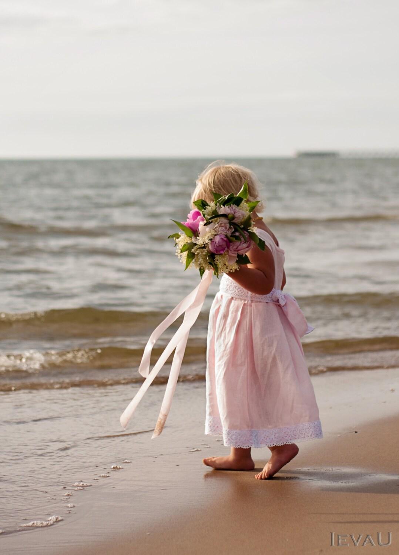 beach weddings pink linen handmade flower girl dress by petitdelin. Black Bedroom Furniture Sets. Home Design Ideas
