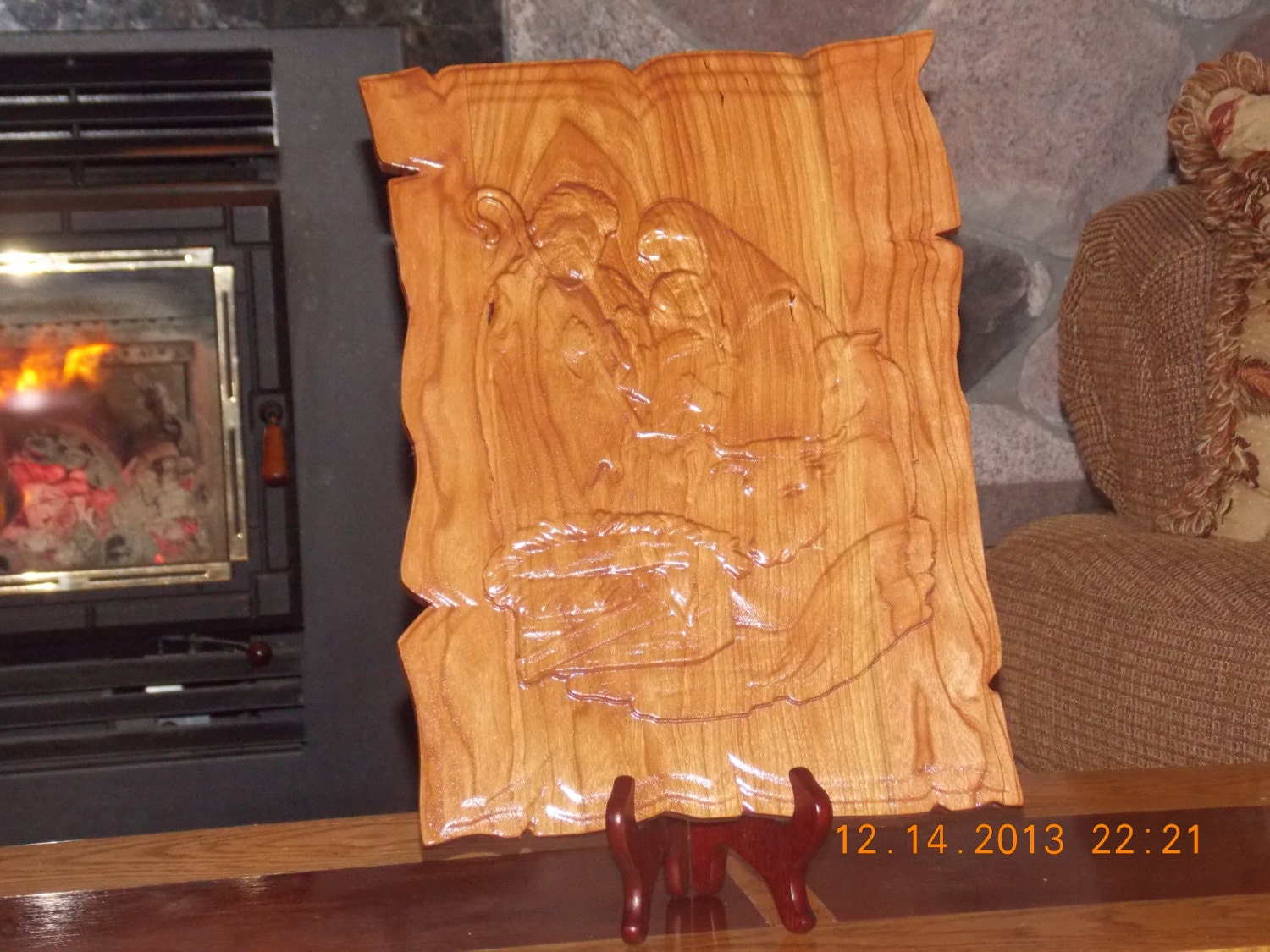 Nativity relief carving baby jesus by