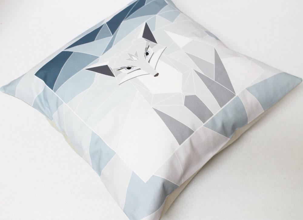 Arctic Fox decorative pillow cover - Throw Pillow - cool blue - ice blue - StudioPapilio