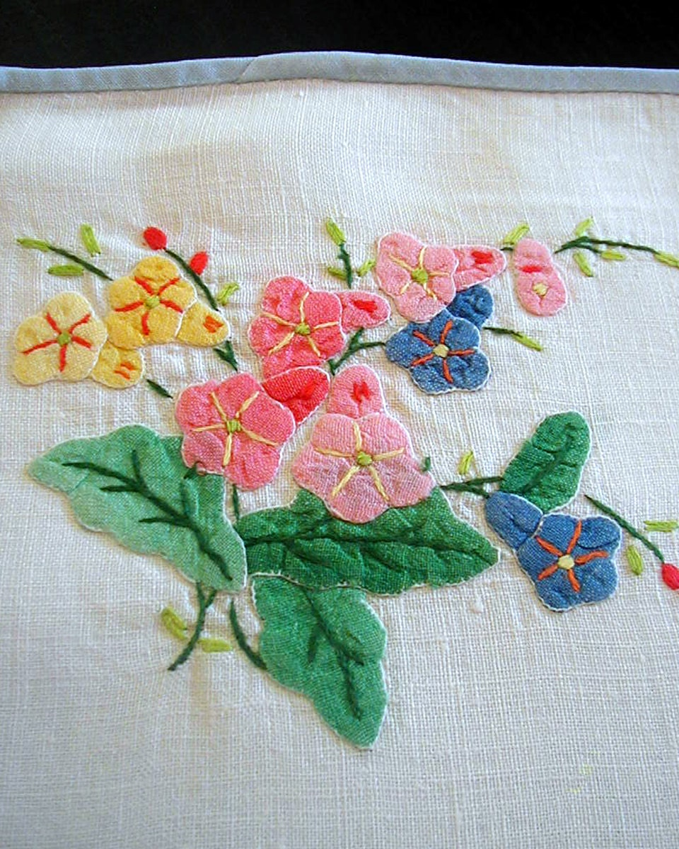 Vintage 2 Napkins 2 Placemats French Applique Linen Breakfast Tray Set - BorderCollieVintage