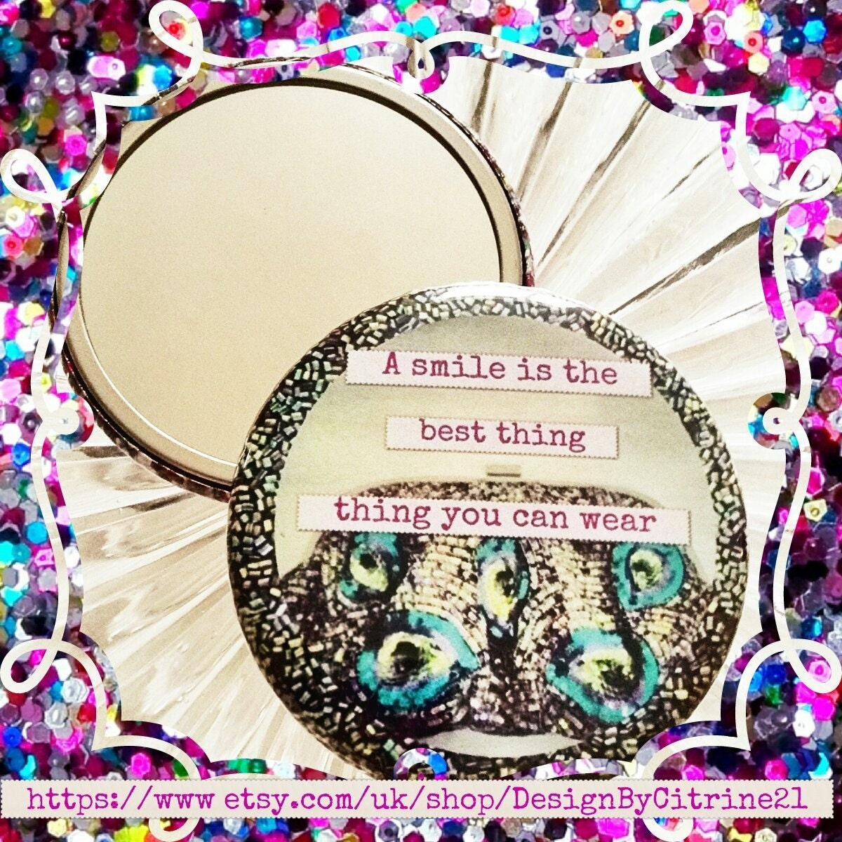 Pretty Pocket Mirror A smile is the best thing you can wear