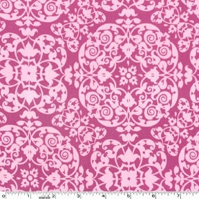 Purple Geometric Scroll Fabric, Secret Garden By Sandi Henderson for Michael Miller, Vintage Ironwork in berry, 1 Yard
