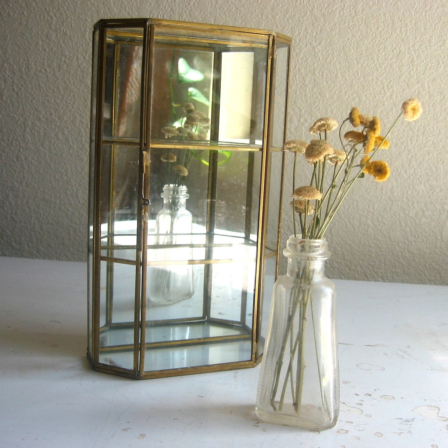 Vintage glass shadow box shelf and mirror by gazebotree on for Mirrored box shelves