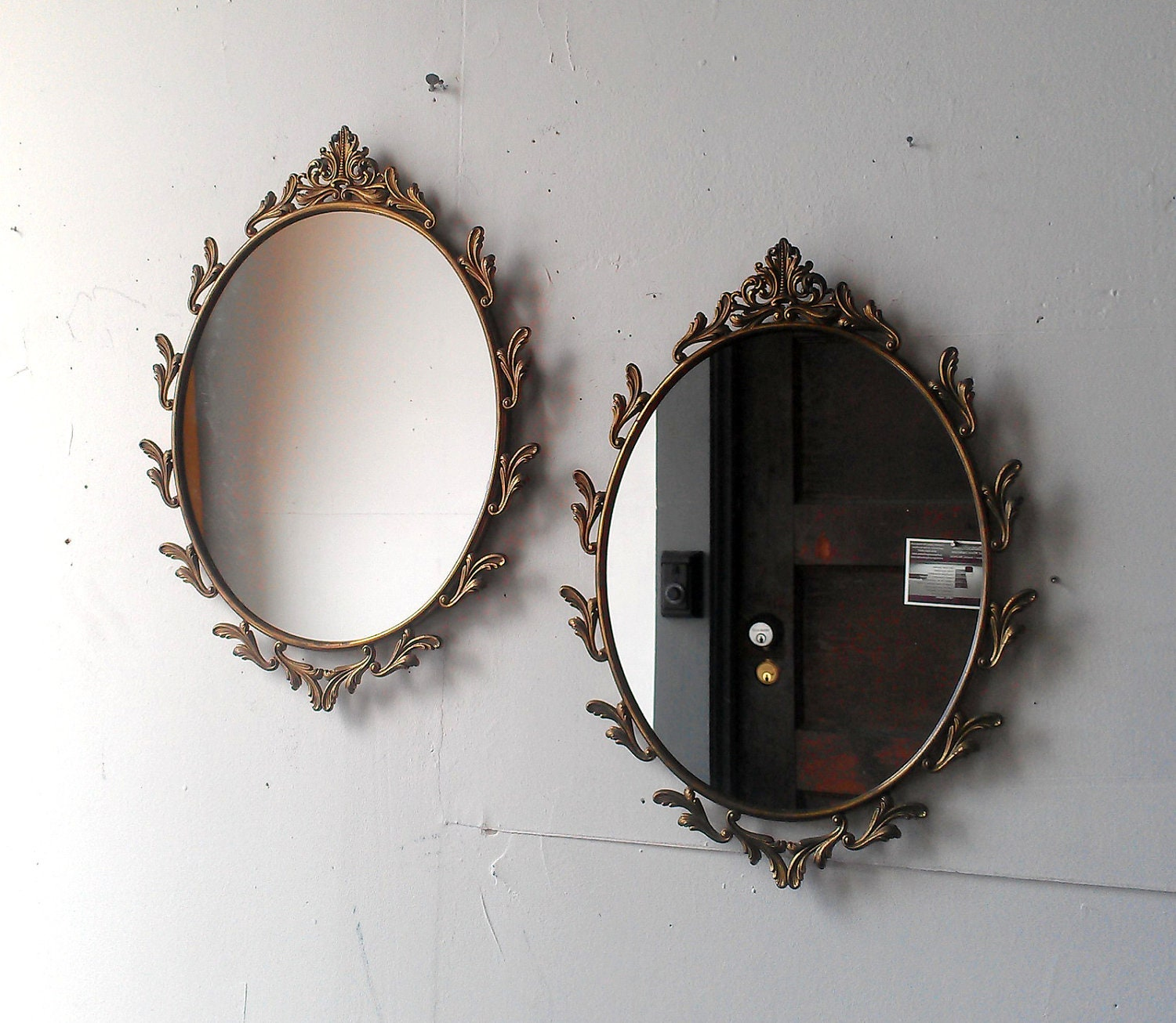 Oval Mirror Set in Ornate Vintage Metal Italy Frames - 15 x 11 inch - SecretWindowMirrors