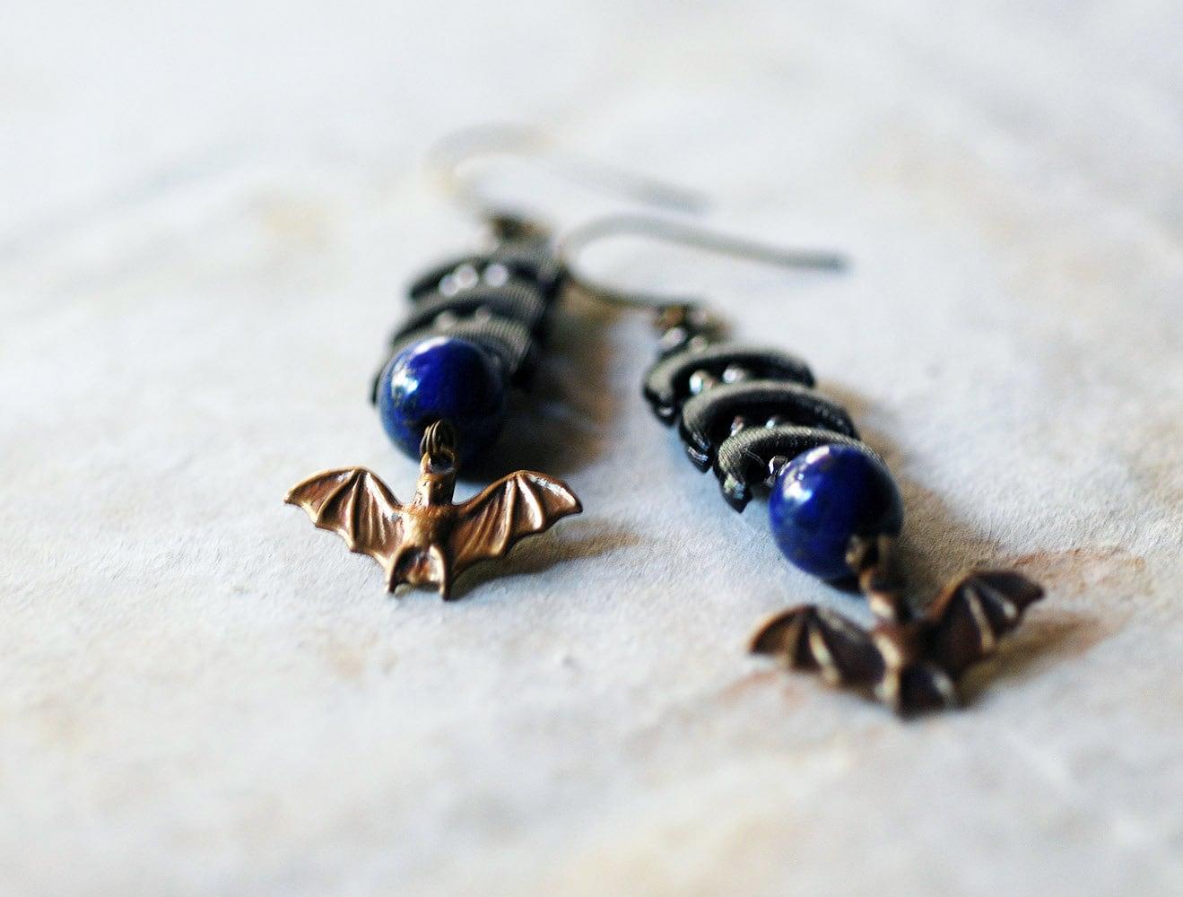 cosmic night. black crescents, lapis and brass bat earrings. - thesolarium