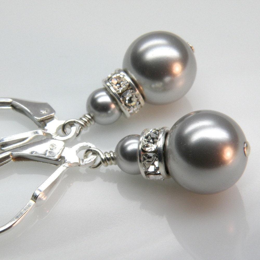 Dangling Pearl Earrings on Silver Pearl Earrings  Drop  Dangle  Sterling  Bridesmaid  Wedding