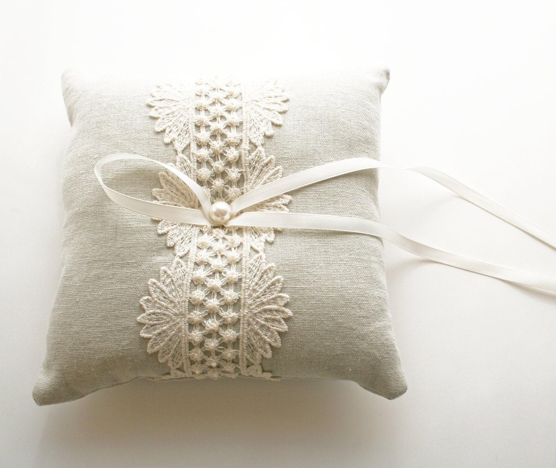 Wedding Ring Pillow Natural Linen Ring Bearer Pillow By Laurastark