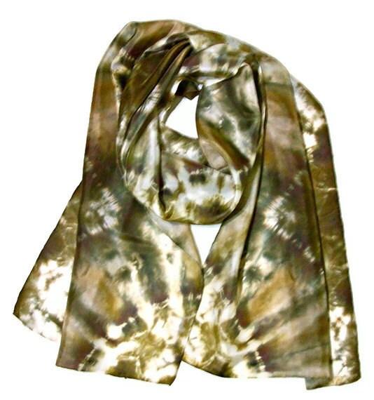 Silk Scarf Dyed Tan and Black - SilkMari