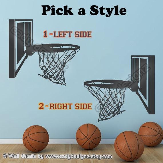 Man Cave Sports Wall Decor : Basketball hoop vinyl decal sports boys by