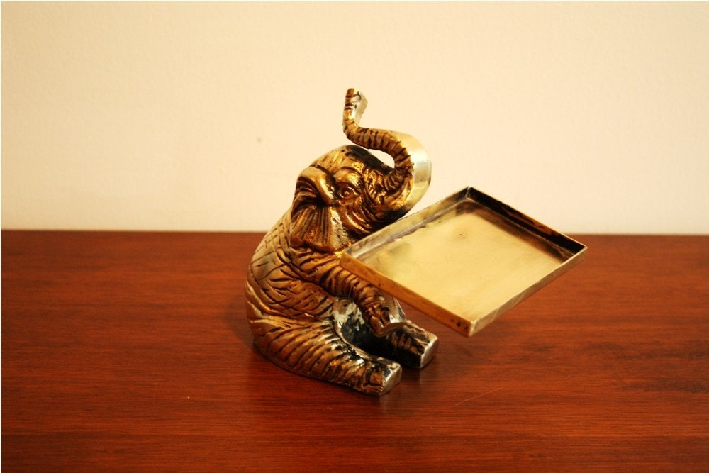 Vintage brass elephant business card holder by