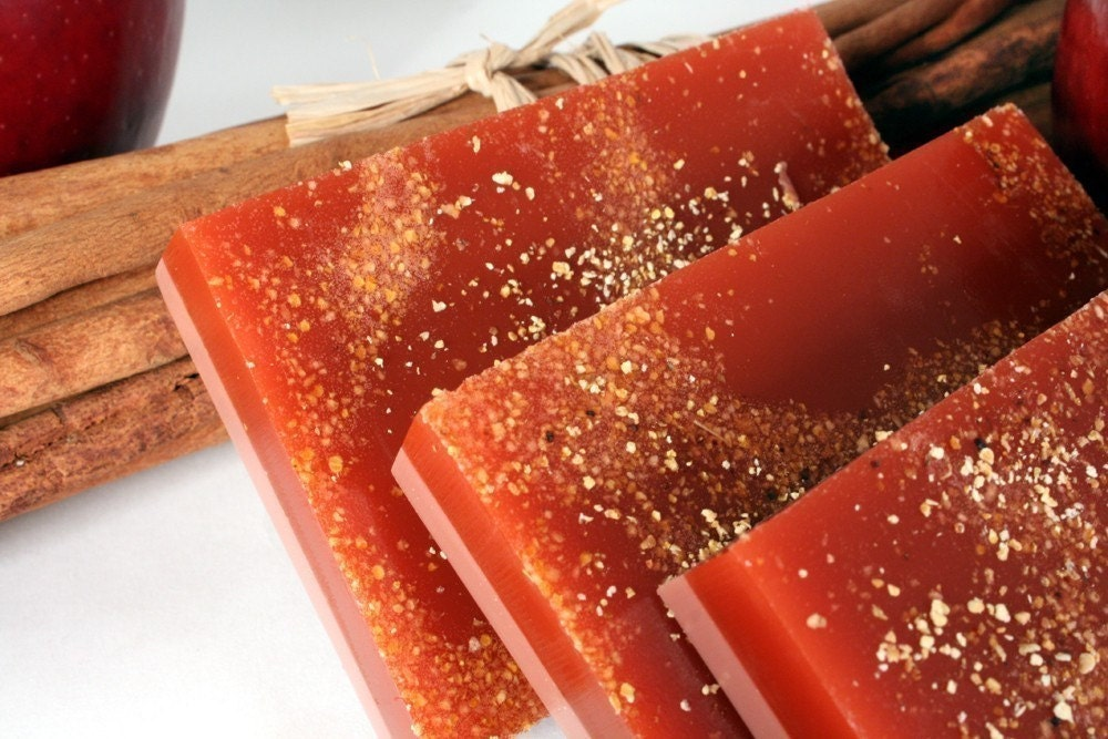 Apple Cinnamon Soap with Exfoliating Orange Peel - Handmade Glycerin and Shea Butter Soap - ThePigAndThePeacock