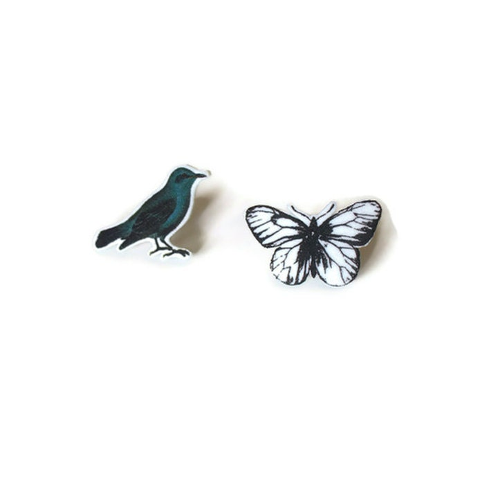 Handmade original Vintage images post earrings bird butterfy shrink plastic - PeekABooCornerShop