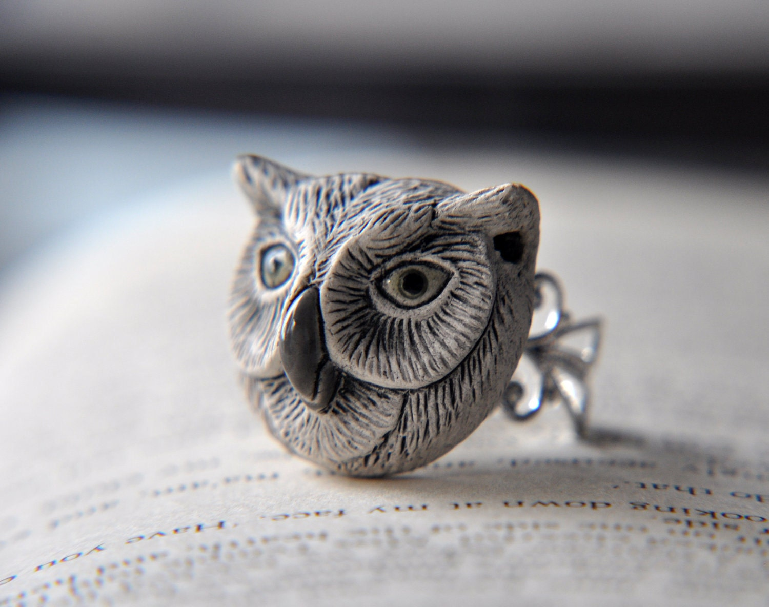 Wise Owl Ring - Adjustable Filigree Ring Band in Gold or Silver  You Pick the Color - Woodland Forest Friends - FawningInLove