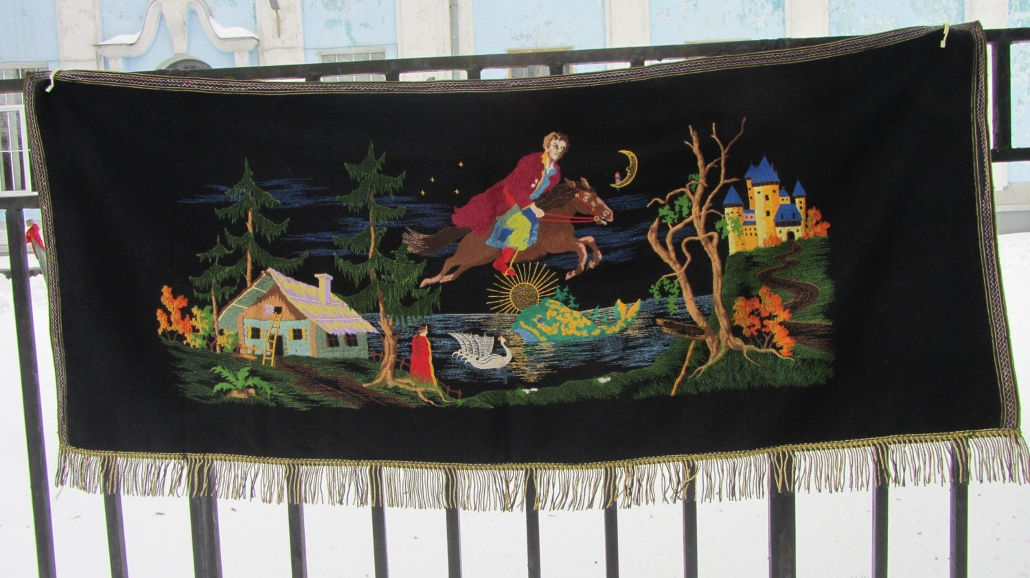 Vintage Fairy Tale Carpet from USSR, Wool and silk wall hanging, Home decor Carp
