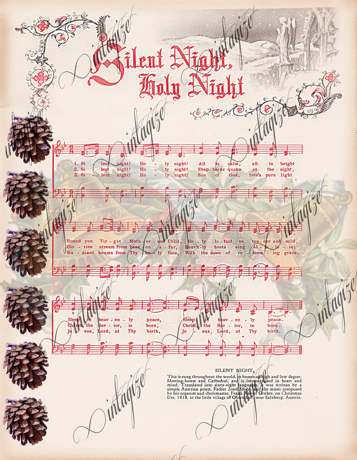 ... Printable Vintage Christmas Sheet Music for Cards, Tags, Scrapbook