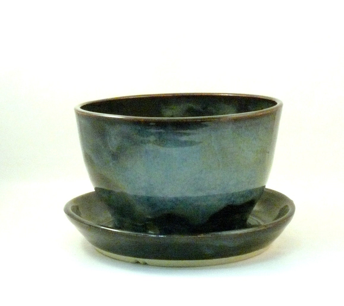 Ceramic Planter with drainage holes and catch basin - decorative flower or herb pot Teacher Thank you - BlueSkyPotteryCO