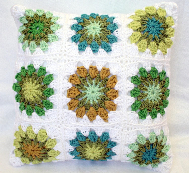 Granny Square Crochet Pillow in Greens - bluecorduroy